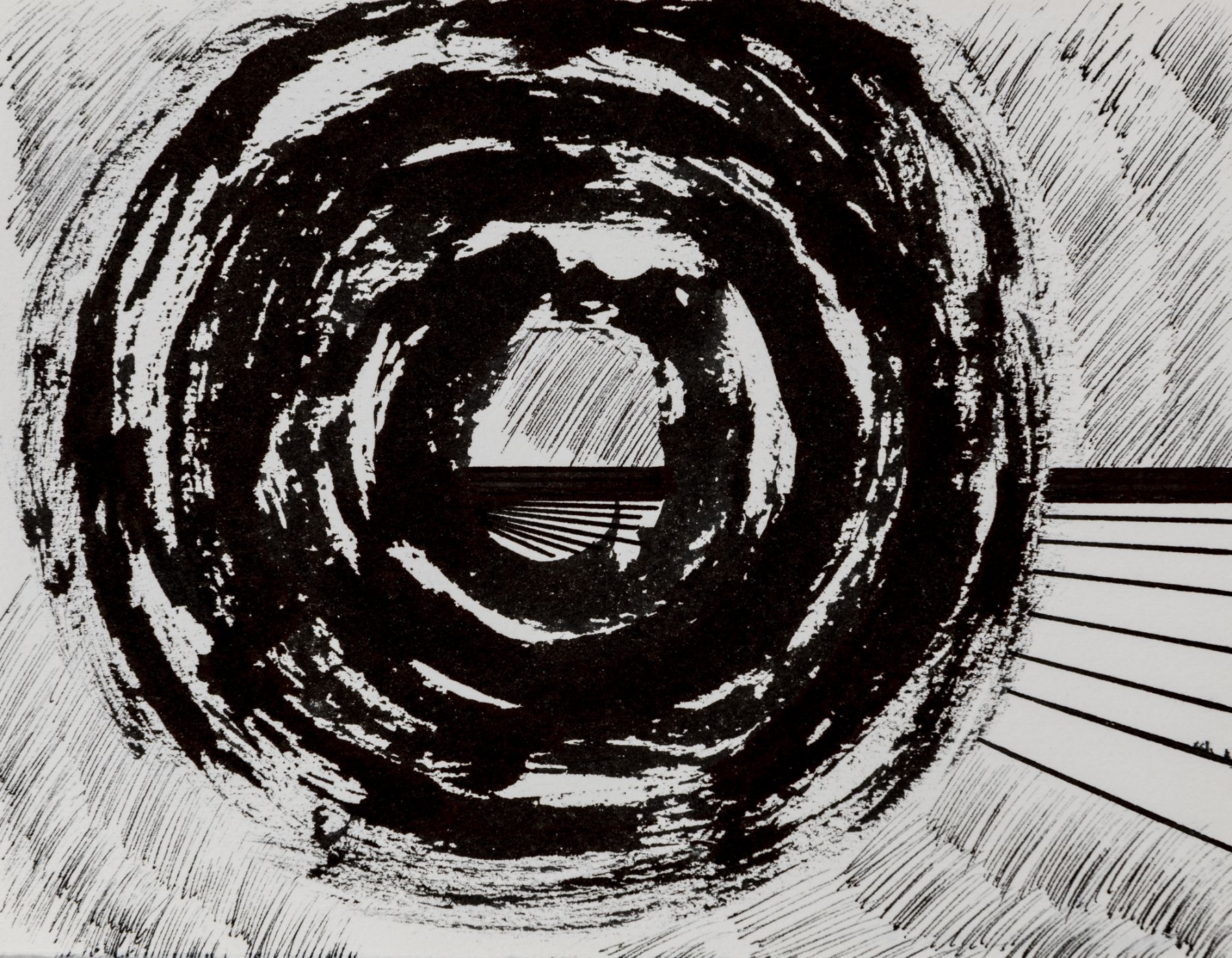 Felrath Hines, Untitled, 1977,  Ink on paper,  5 x 6.5 inches,  Unsigned. Thick circular ink lines surrounded by smaller thin vertical lines. Felrath Hines worked to create universal visual idioms from a place of complex personal experience. His figurative and cubist-style artwork morphed into soft-edged organic abstracts as he grappled with hues in his chosen oil medium.
