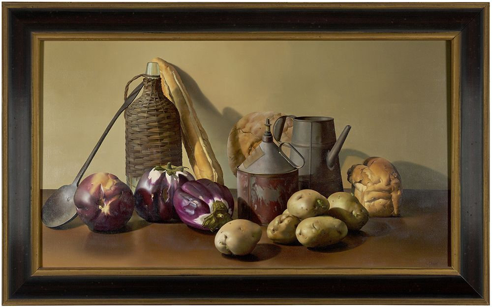 Jeanne Duval,  Still Life with Bottle & Tin, 1995,   Oil on linen,  20 x 35 inches,   Signed lower right. Still life oil painting with potatoes, bread, tin watering cans, against a cream wall. Jeanne Duval creates dramatic still life's that are simultaneously realistic and surrealistic. The extreme detail with which she paints is similar to that of the Dutch masters' still life's of the 17th century, meticulously capturing blemishes and imperfections; her objects seem to move beyond the realm of real life.