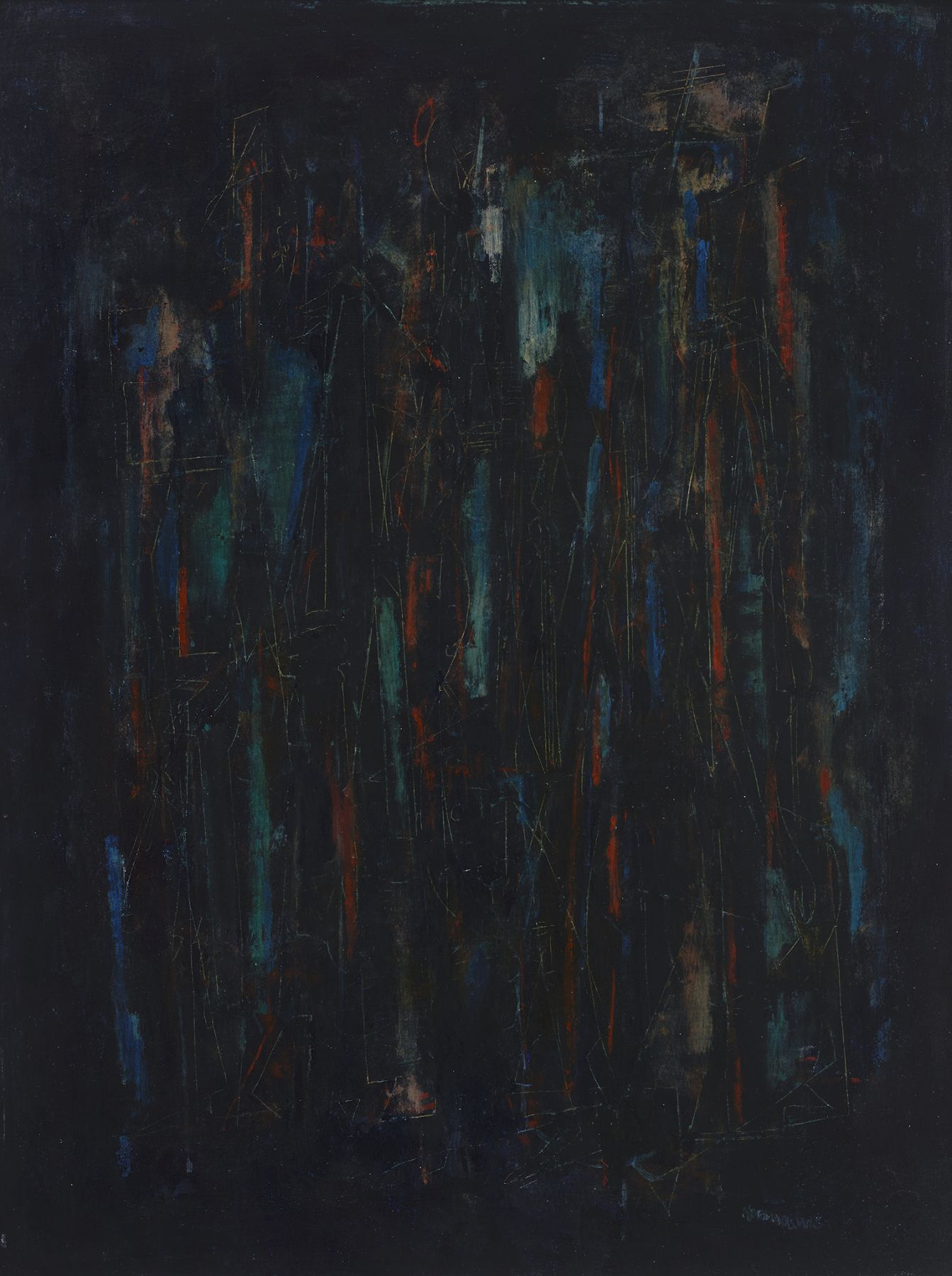 Norman Lewis, Musicians, 1948, Oil with sgraffito on masonite, 24 x 18 inches, Signed lower right, Dark abstract painting with layers of black, red and blue. Norman Lewis was a vital member of the first generation of abstract expressionists. He was the sole African American artist of his generation and his art derived from his interests in music and equality issues.