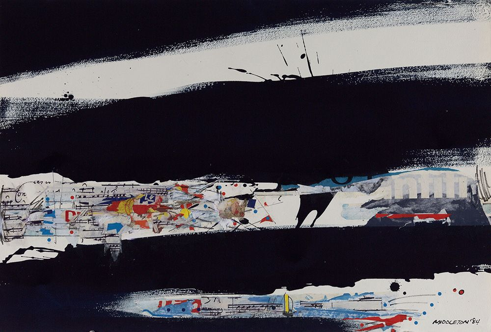 Nocturnal Beat,1984, Mixed media and collage on paper
