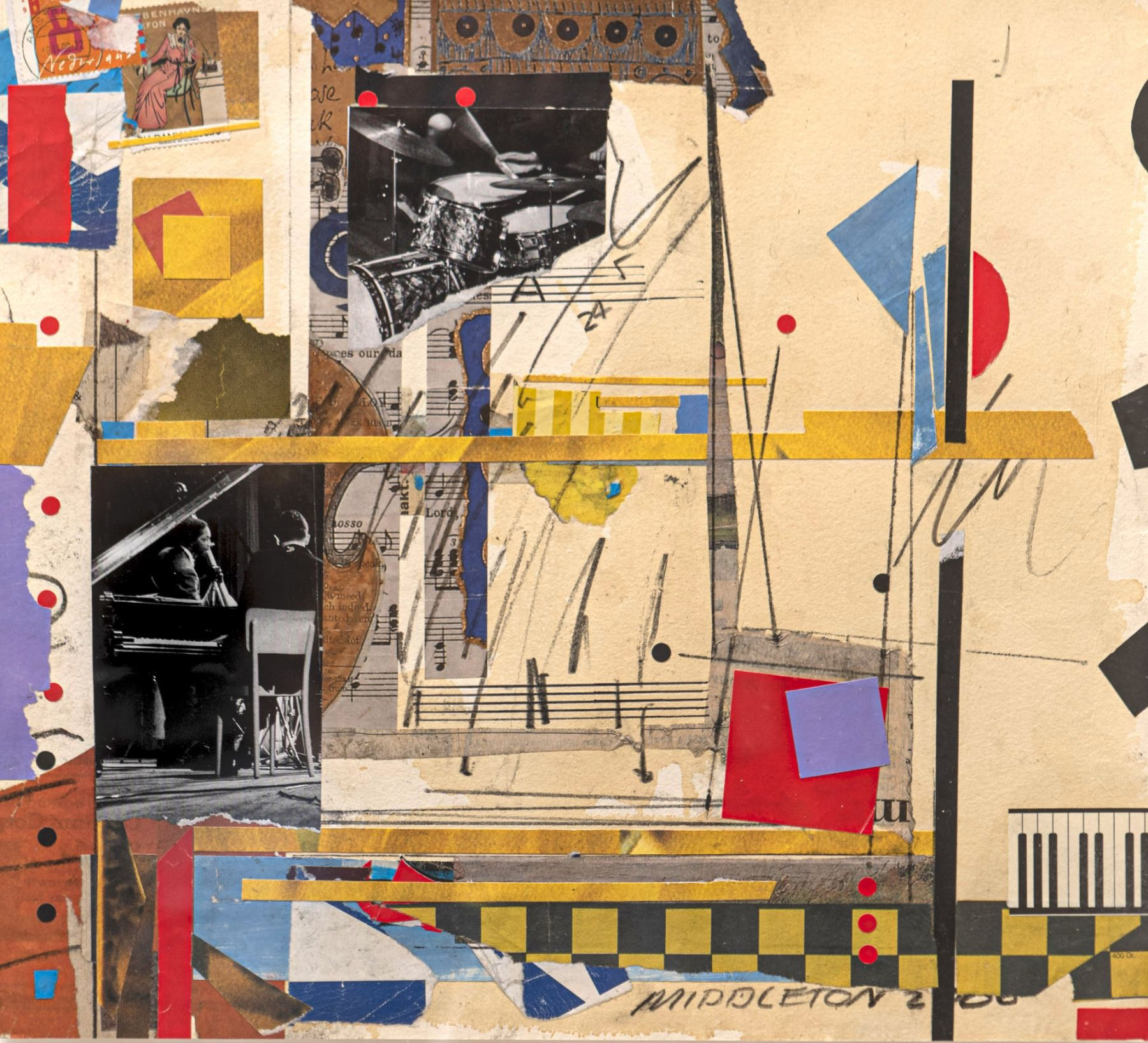 Sam Middleton, Untitled, 2000, Mixed media collage, 11 1/2 x 12 1/2 in., Signed and dated, lower right. Abstract work with geometric squares, angled lines and spheres. Sam Middleton was one of the leading 20th-century American artists, and is a mixed-media collage artist.