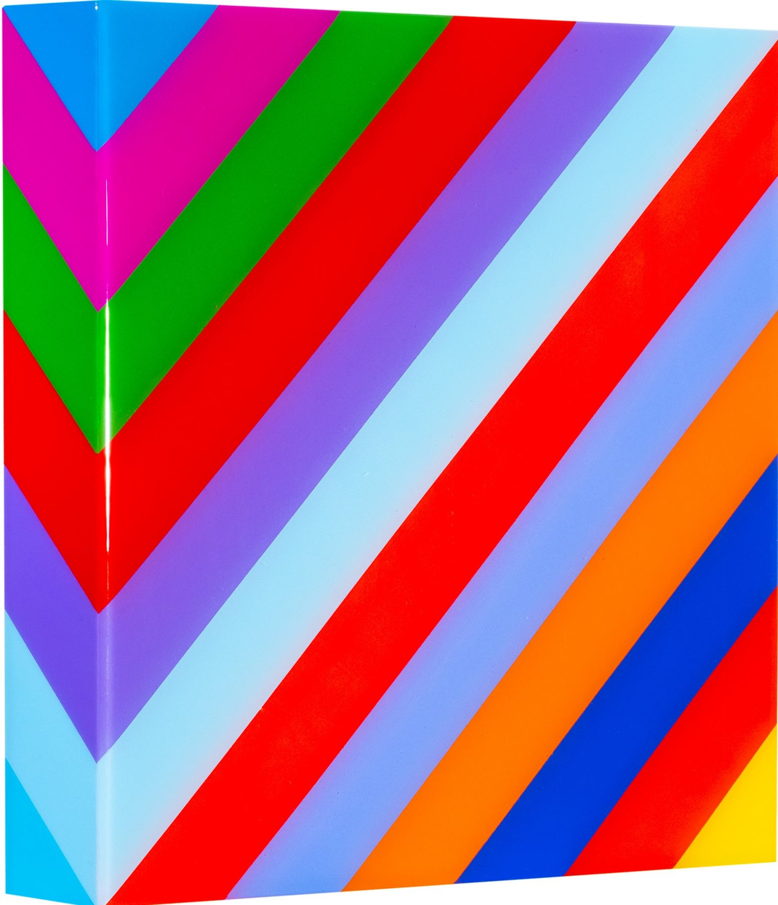 Heidi Spector, My Clarity III, 2019, Liquitex with resin on Birch panel, 12 x 12 x 2 inches, Signed, titled and dated on the verso, Square panel with bright and colorful vertical lines set in a glass-like surface, Heidi Spector creates geometric minimalist art inspired by musical rhythms that are composed of repetitive shapes in candy-like colors that vibrate.