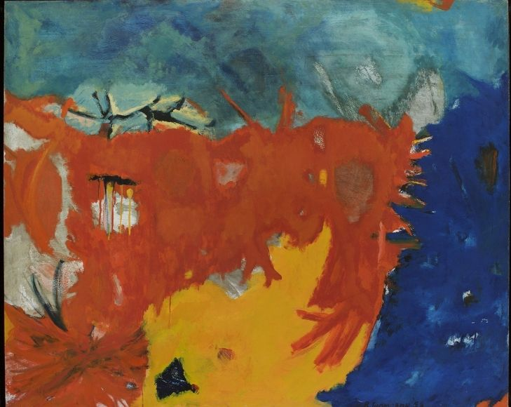Bob Thompson, Spazz, Provincetown, 1959, Oil on board, 51 x 63 inches, Signed lower right, Abstract work with orange, blue and yellow, Bob Thompson is recognized for the vibrancy of his paintings and influence to successive generations of artists.
