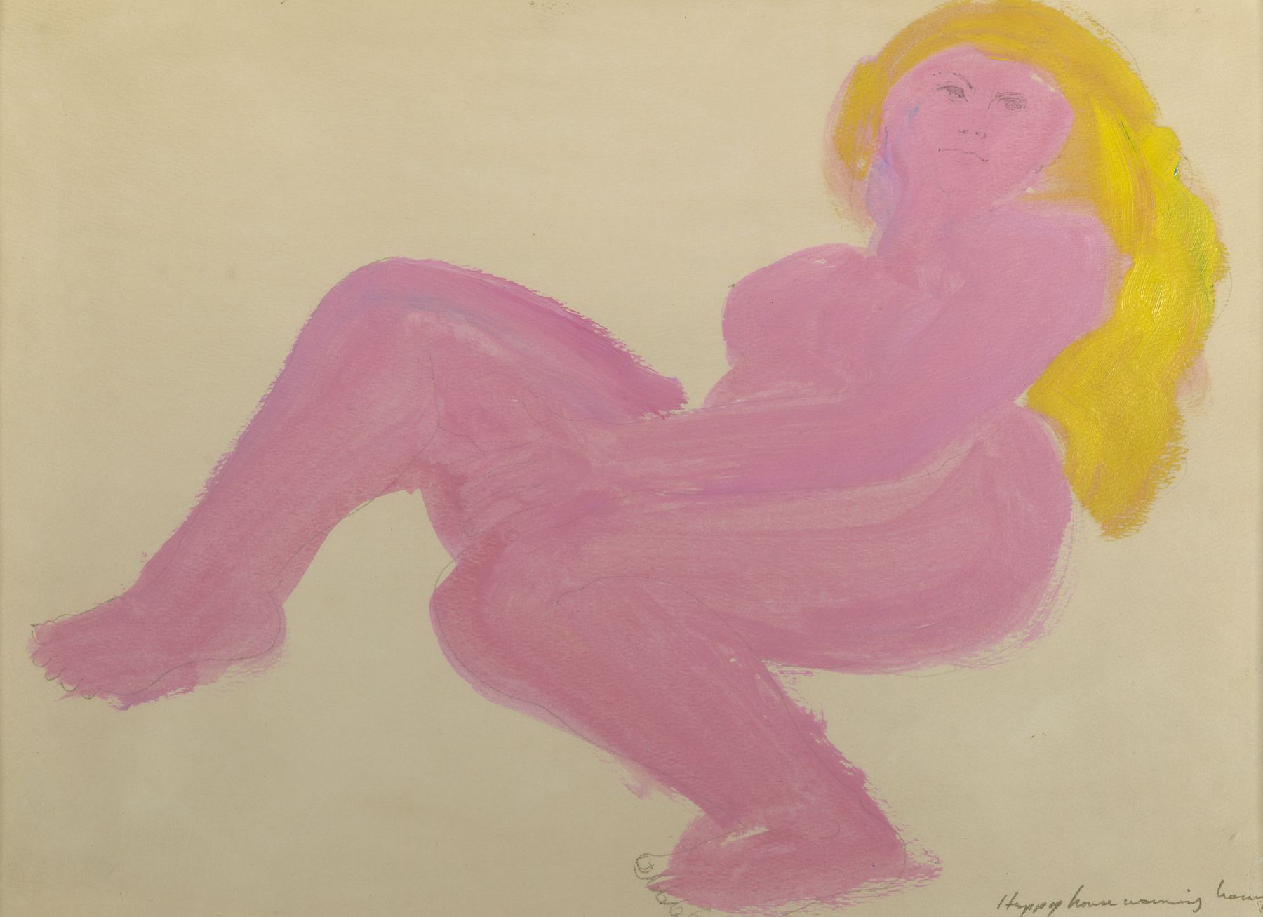 Larry Rivers, Reclining Nude, c. 1960-65,  Mixed Media on Paper, 12 x 16 3/4 inches, Abstract pink and yellow female portrait. Larry Rivers was an American Abstract Expressionist artist.