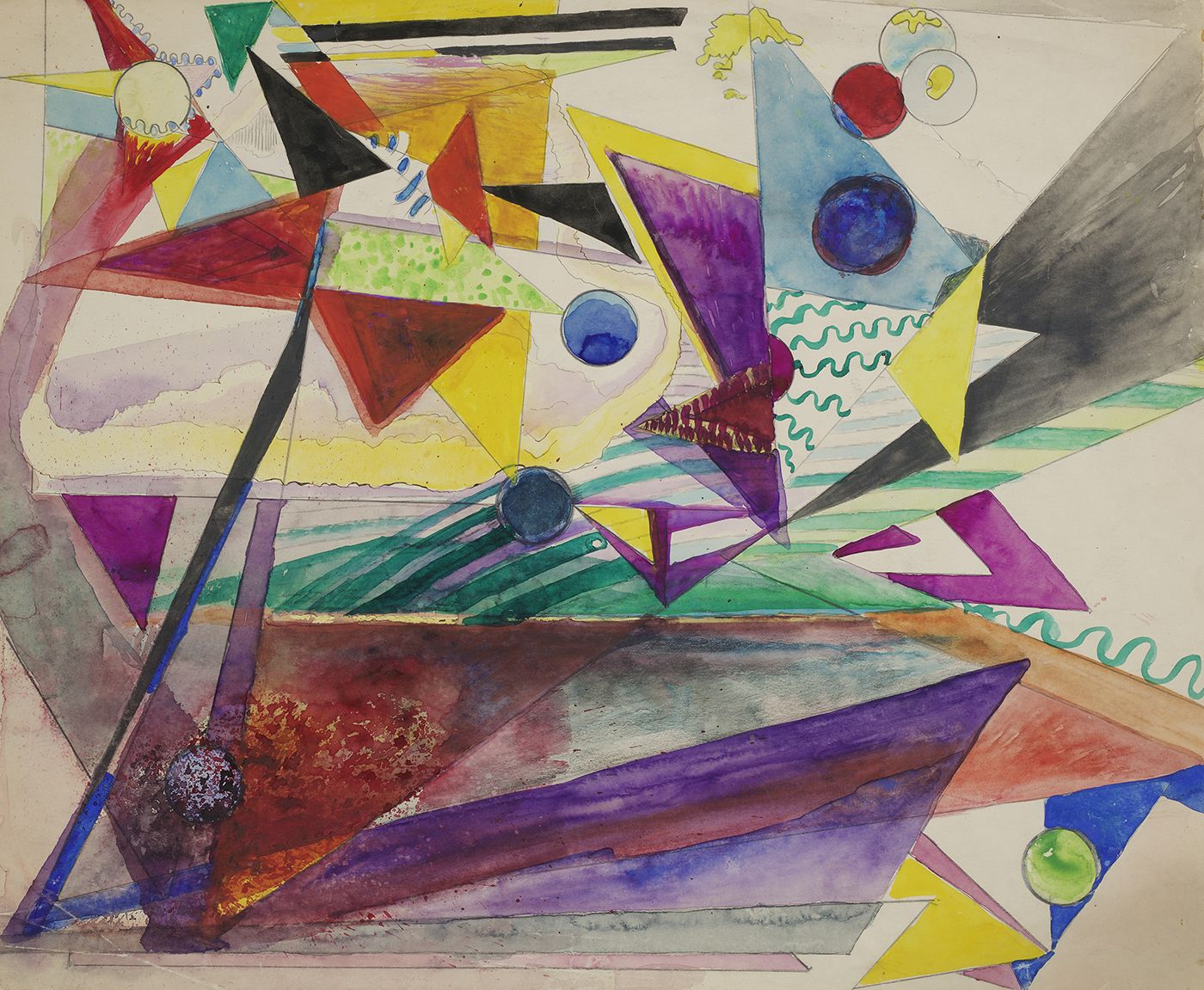 Hilla Rebay, Abstract Composition, Watercolor on paper, 14 x 16-1/2 inches, colorful watercolor painting of various triangles and spheres. Hilla Rebay was an abstract artist and co-founder of the Guggenheim.