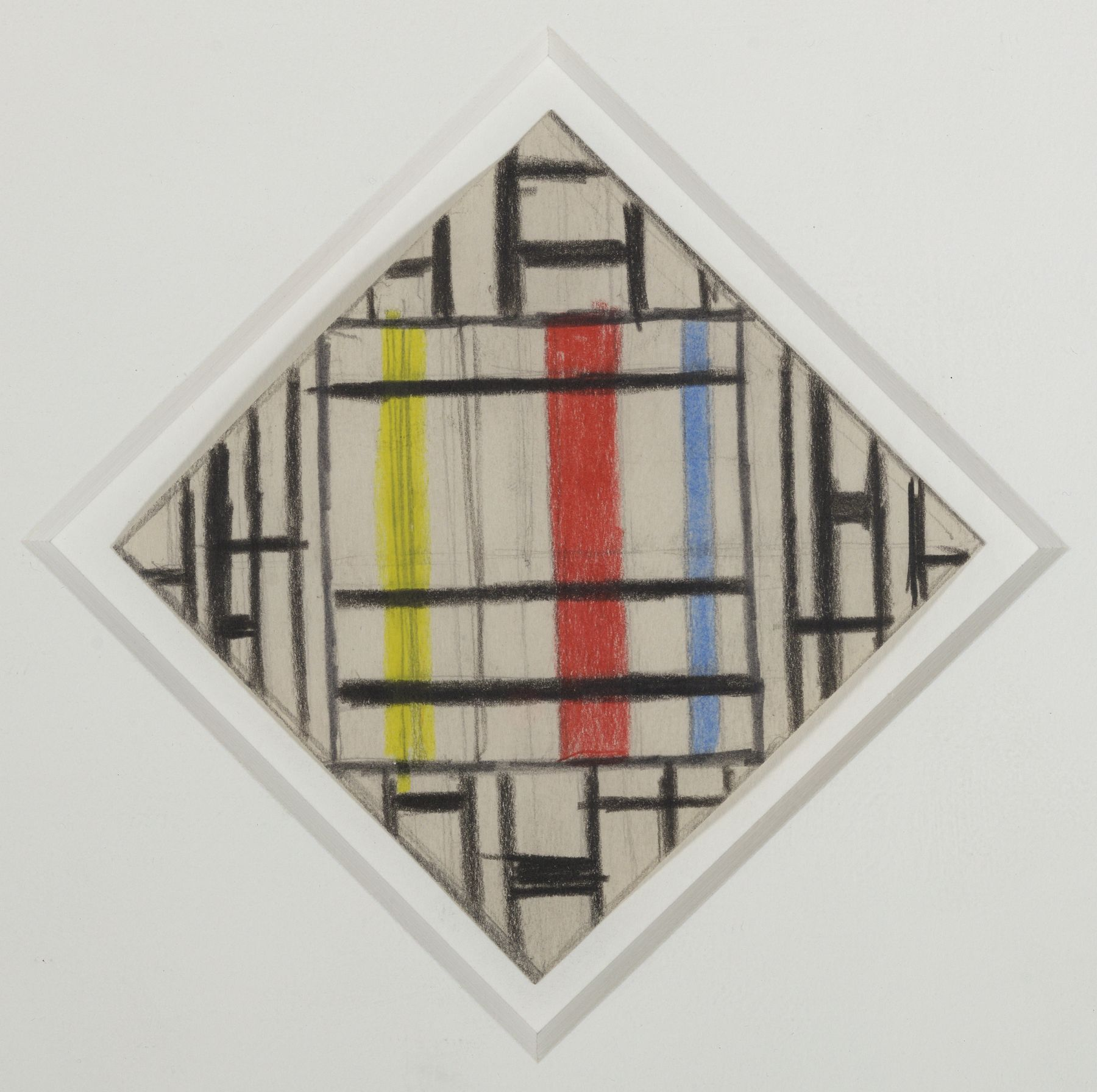 Burgoyne Diller, Third Theme, Pencil and crayon on paper, 3 1/2 x 3 1/2 inches, Sketch with vertical and horizontal black, red, blue and yellow lines.  Burgoyne Diller was a modernist artist who worked in various mediums to create geometric abstractions.