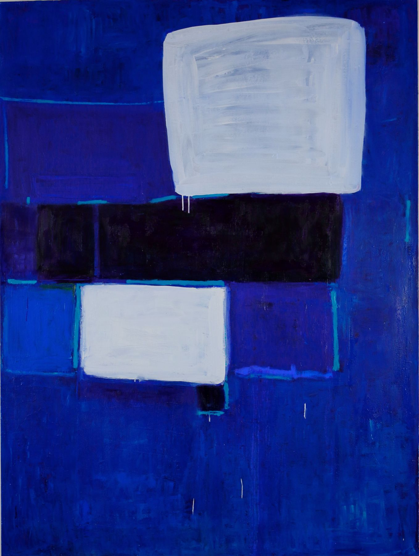 Katherine Parker, Shell Game, Oil on canvas, 80 x 60 inches, Abstract cobalt blue painting with black and white rectangles, Katherine Parker is known for her large vividly painted canvases which are characterized by layers of stumbled and abraded oil paint.
