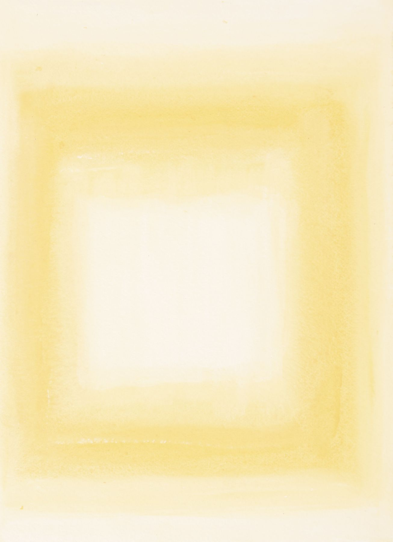 Felrath Hines, Untitled,  Watercolor on paper,  7.75 x 6 inches, Unsigned. Soft pastel yellow background with outlined yellow rectangle in the center of the frame. Felrath Hines worked to create universal visual idioms from a place of complex personal experience. His figurative and cubist-style artwork morphed into soft-edged organic abstracts as he grappled with hues in his chosen oil medium.