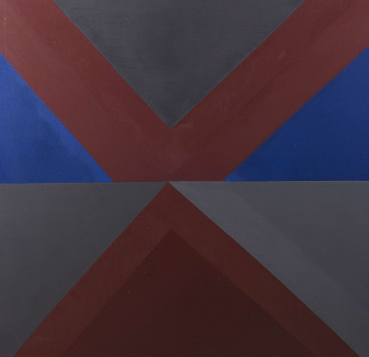 Felrath Hines, Untitled #2, 1978, Oil on canvas, 46 x 48 inches. Canvas divided horizontally with red, blue and grey geometric triangles and shapes. Felrath Hines worked to create universal visual idioms from a place of complex personal experience. His figurative and cubist-style artwork morphed into soft-edged organic abstracts as he grappled with hues in his chosen oil medium.