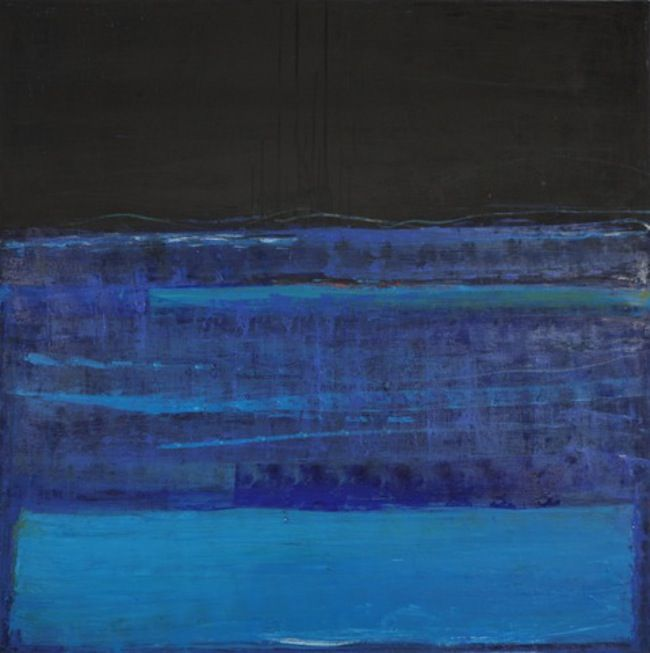 Katherine Parker, Fathom, 2015, Oil on canvas, 60 x 60 inches, Abstract painting with multiple layers of black and blue, Katherine Parker is known for her large vividly painted canvases which are characterized by layers of stumbled and abraded oil paint.