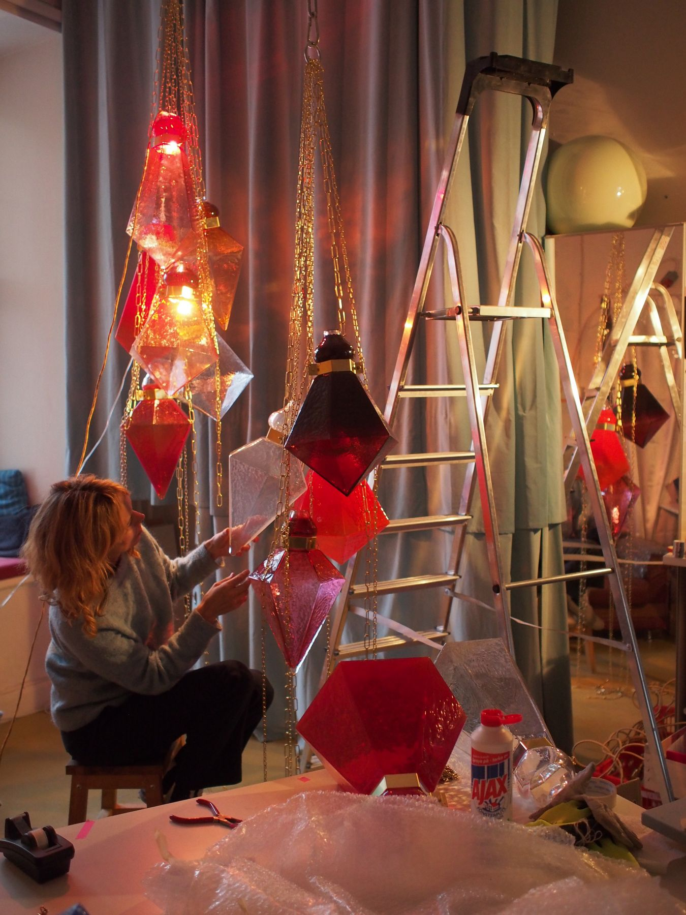 Frida Fjellman working on the pieces for her solo installation at Design Miami 2016.