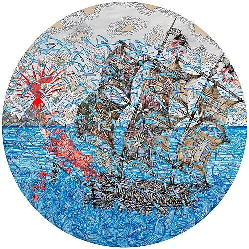 Andrew Schoultz, Double Mast Ship (2013)