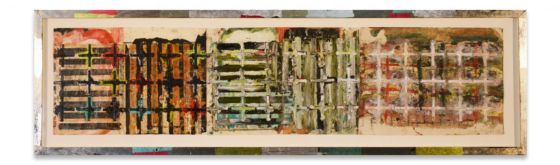 +'s & -'s #57, 2018, Oil stick, encaustic, vintage Indian paper in artist's frame, 13 5/8 x 46 x 1 1/4 inches, 34.6 x 116.8 x 3.2 cm, MMG#30910