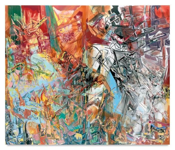 Ghost of Water, 2014, Acrylic, oil, and collage on canvas, 120 x 142 inches, 304.8 x 355.6 cm, Diptych (Left panel 120 x 70 inches/Right panel 120 x 72 inches), MMG#22192