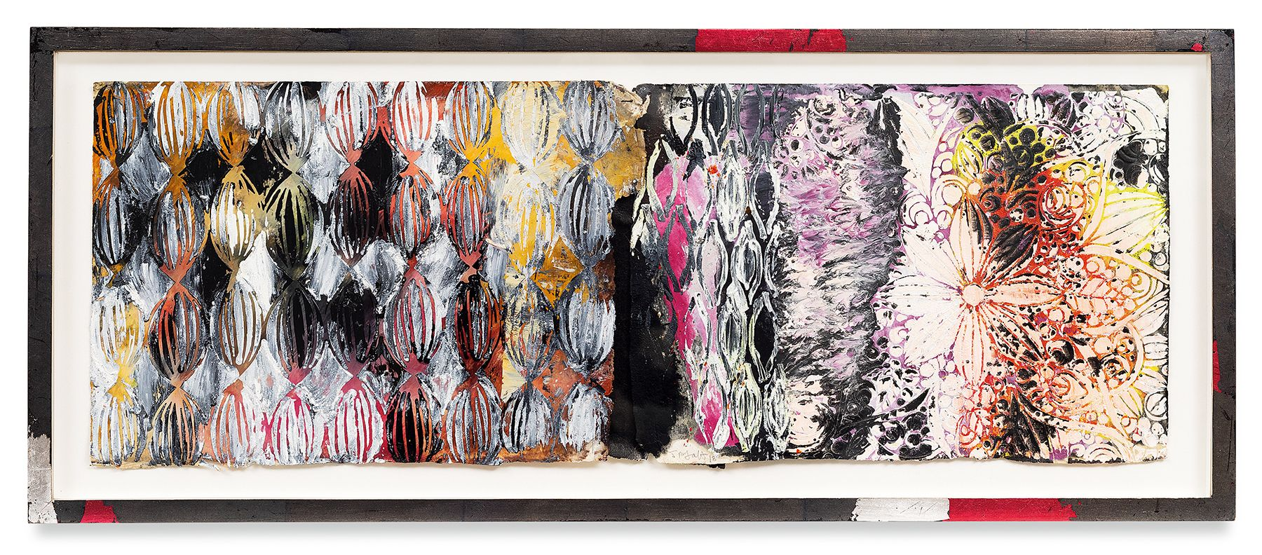 Year of the Rat 8, 2018, Vintage Indian paper, oil stick, encaustic, vintage Indian paper, in artist's frame, 13.5 x 33 inches, 34.3 x 83.8 cm, MMG#30607