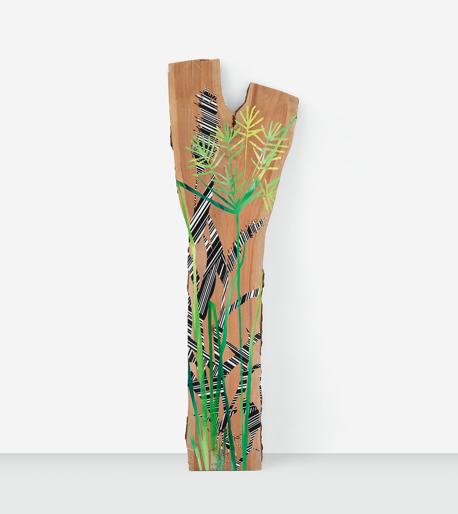 The Foxtail and The Nut Grass, 2019 Acrylic paint on cherry, 95 x 29 x 1 inches, 241.3 x 73.7 x 2.5 cm, MMG#30772