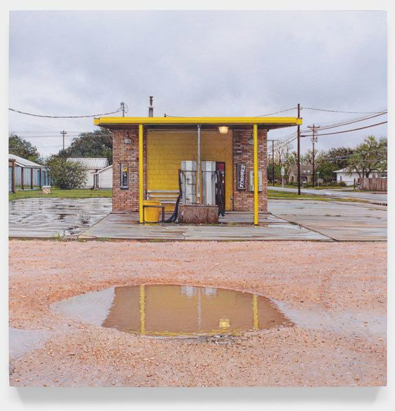 Rod Penner, Yellow Carwash, 2014, Acrylic on panel, 6 x 6 inches, 15.2 x 15.2 cm, A/Y#21610