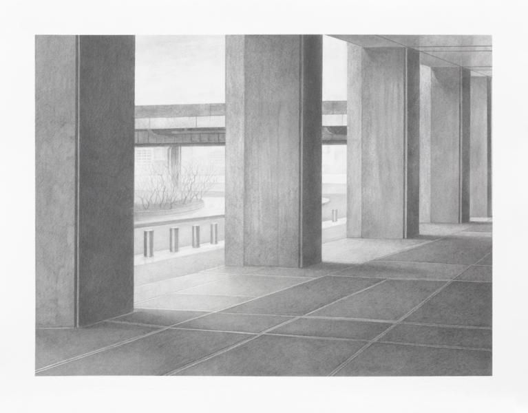 Pillar #3, 2014, Graphite on paper, 13 1/4 x 17 1/4 inches, 33.7 x 43.8 cm, A/Y#22036