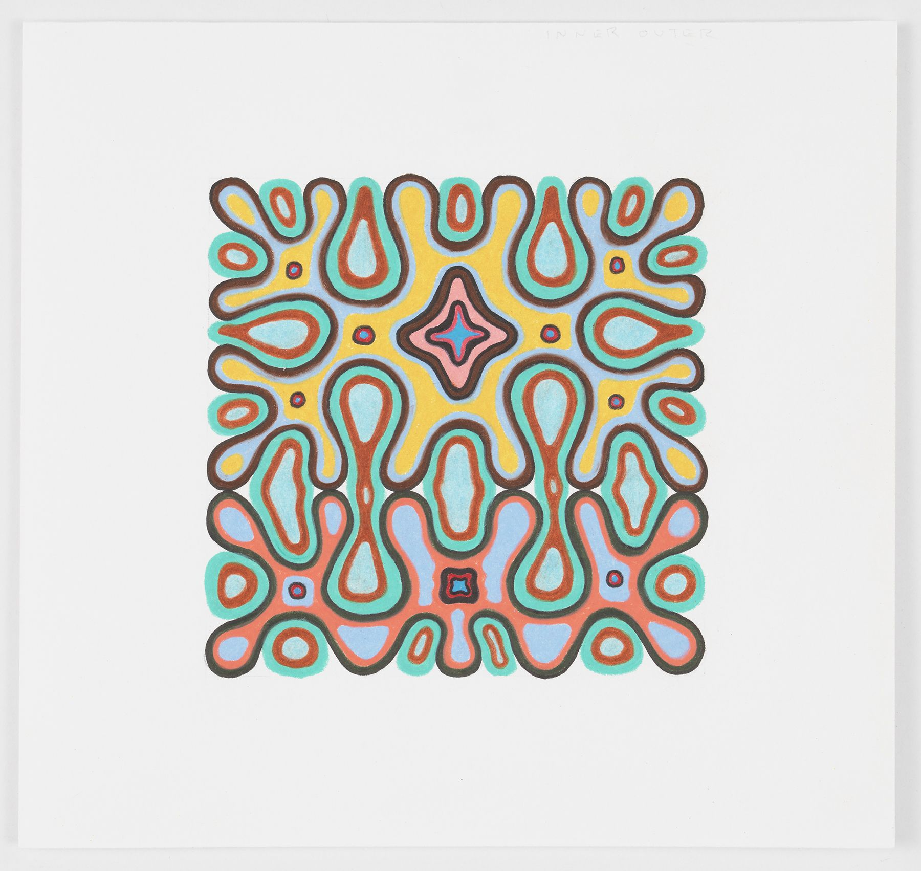 Inner Outer, 2018,Colored pencil on paper, 6 1/2 x 7 inches,16.5 x 17.8 cm,MMG#31155
