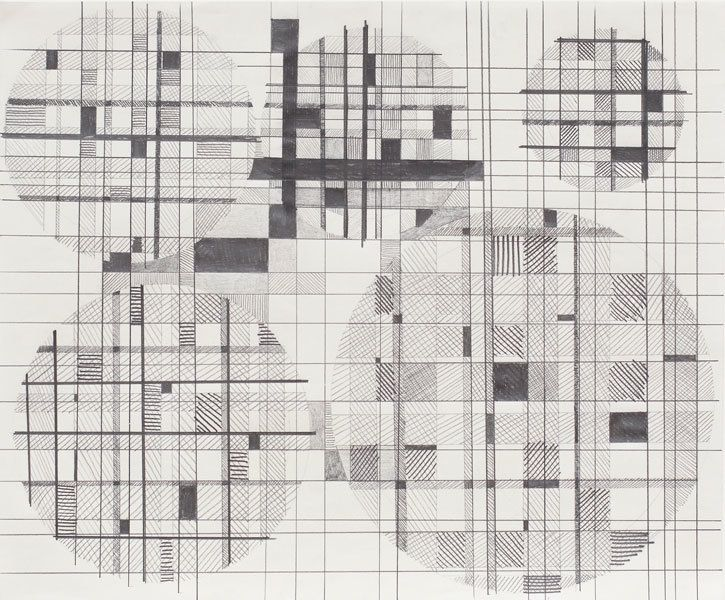 Jacob Hashimoto, Untitled IV, 2011, Graphite on paper, 14 x 17 inches, 35.6 x 43.2 cm, A/Y#22664