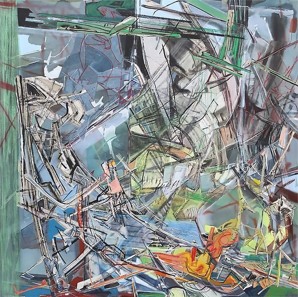 Suitor, 2013, Acrylic, collage, and oil on canvas, 80 x 80 inches, 203.2 x 203.2 cm, A/Y#21147