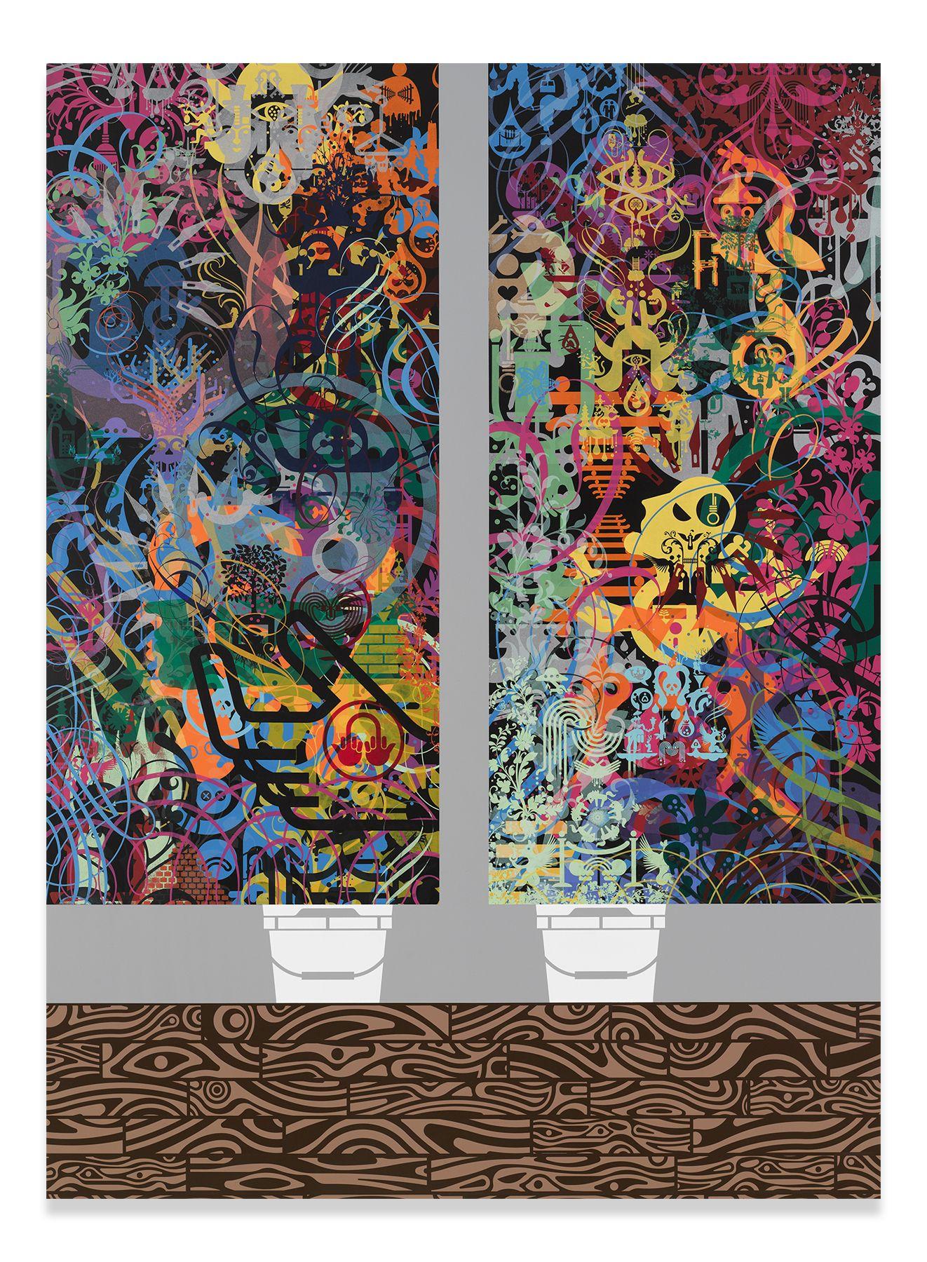 Script Kitties, 2016,Acrylic on wood panel,69.5 x 51.125 inches,176.5 x 129.9 cm,MMG#31347