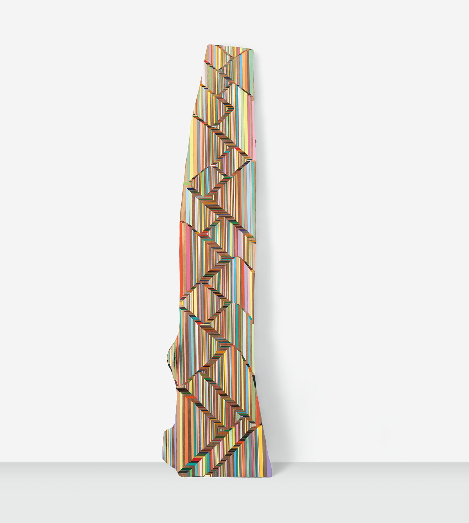 The Line Where an Object Begins and Ends, 2018, Acrylic on walnut, 102 x 26 x 1 1/2 inches, 259.1 x 66 x 3.8 cm, MMG#30710