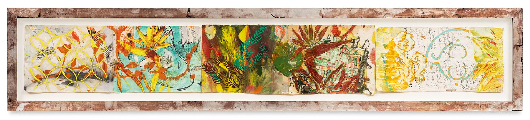 Ragamala 11, 2013, Oil stick, encaustic, vintage Indian paper, in artist's frame, 10 x 51 inches, 25.4 x 129.5 cm, MMG#30619