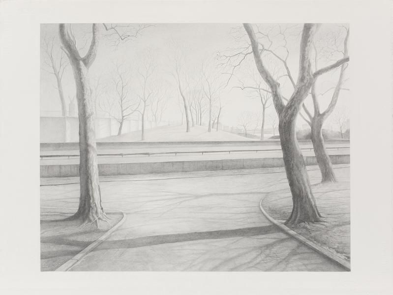 Crossing, 2009, Graphite on paper, 22 1/2 x 30 inches, 57.2 x 76.2 cm, A/Y#21570