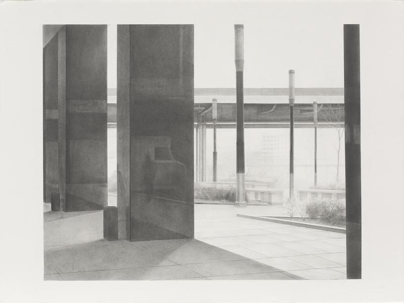 Pillars #2, 2014, Graphite on paper, 22 3/4 x 30 1/4 inches, 57.8 x 76.8 cm, A/Y#21668