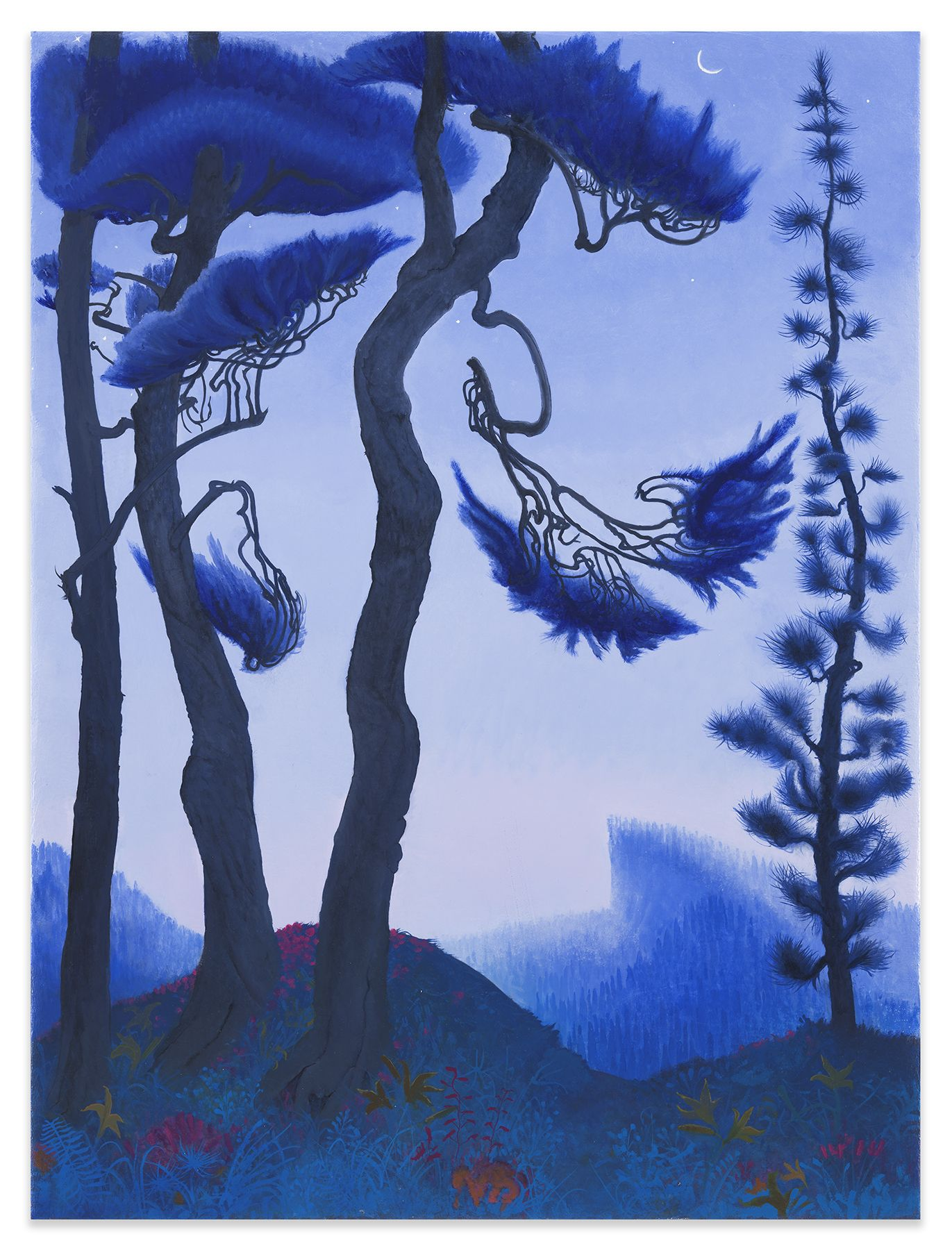 Blue Spruce and Waning Crescent Moon, 2021, Enamel on canvas, 40 1/4 x 30 1/8 inches, 102.2 x 76.5 cm, (MMG#32997)