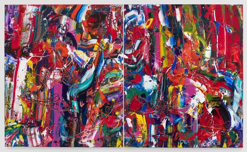 Big Time Red, 2016, Acrylic on linen, 72 x 120 inches, 182.9 x 304.8 cm, Diptych, MMG#28076