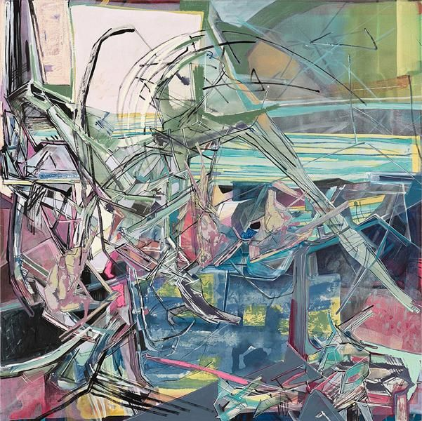Relocation, 2013, Acrylic, collage, and oil on linen, 50 x 50 inches, 127 x 127 cm, A/Y#21203