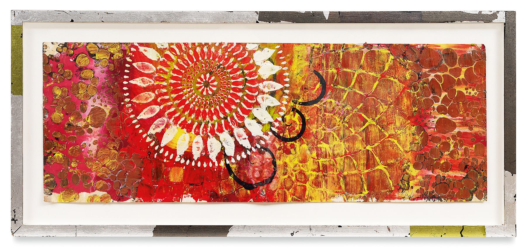 +'s & -'s #25, 2018, Oil stick, encaustic, vintage Indian paper, in artist's frame, 13.5 x 30 inches, 34.3 x 76.2 cm, MMG#30610