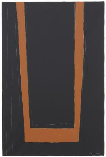 Robert Motherwell, Open No. 146: Umber on Black, 1970, Acrylic on canvas, 36 x 24 inches, 91.4 x 61 cm, A/Y#21939