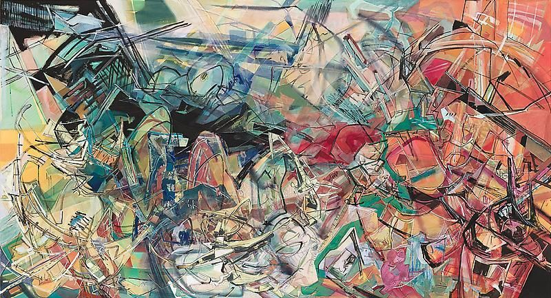 Women and the Ocean, 2013, Acrylic, collage, and oil on canvas, 65 x 120 inches, 165.1 x 304.8 cm, A/Y#21205