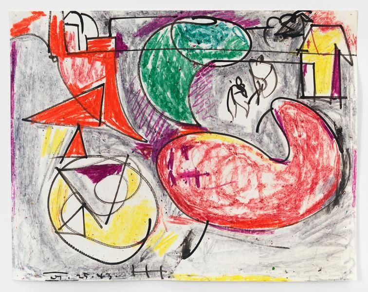 Hans Hofmann, On the Sea, 1943, Crayon and ink on paper, 11 x 14 inches, 27.9 x 35.6 cm, AMY#15039