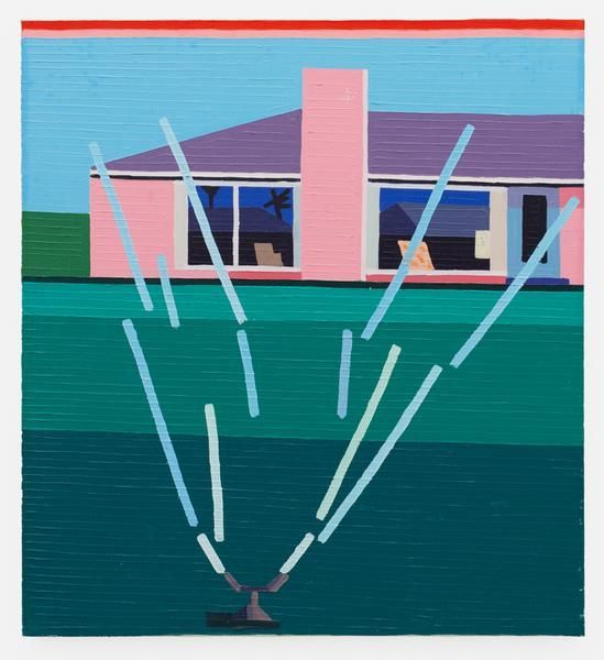 Sad House with Sprinkler, 2015-16, Oil on linen, 27.56 x 25.2 inches, 70 x 64 cm, MMG#28255