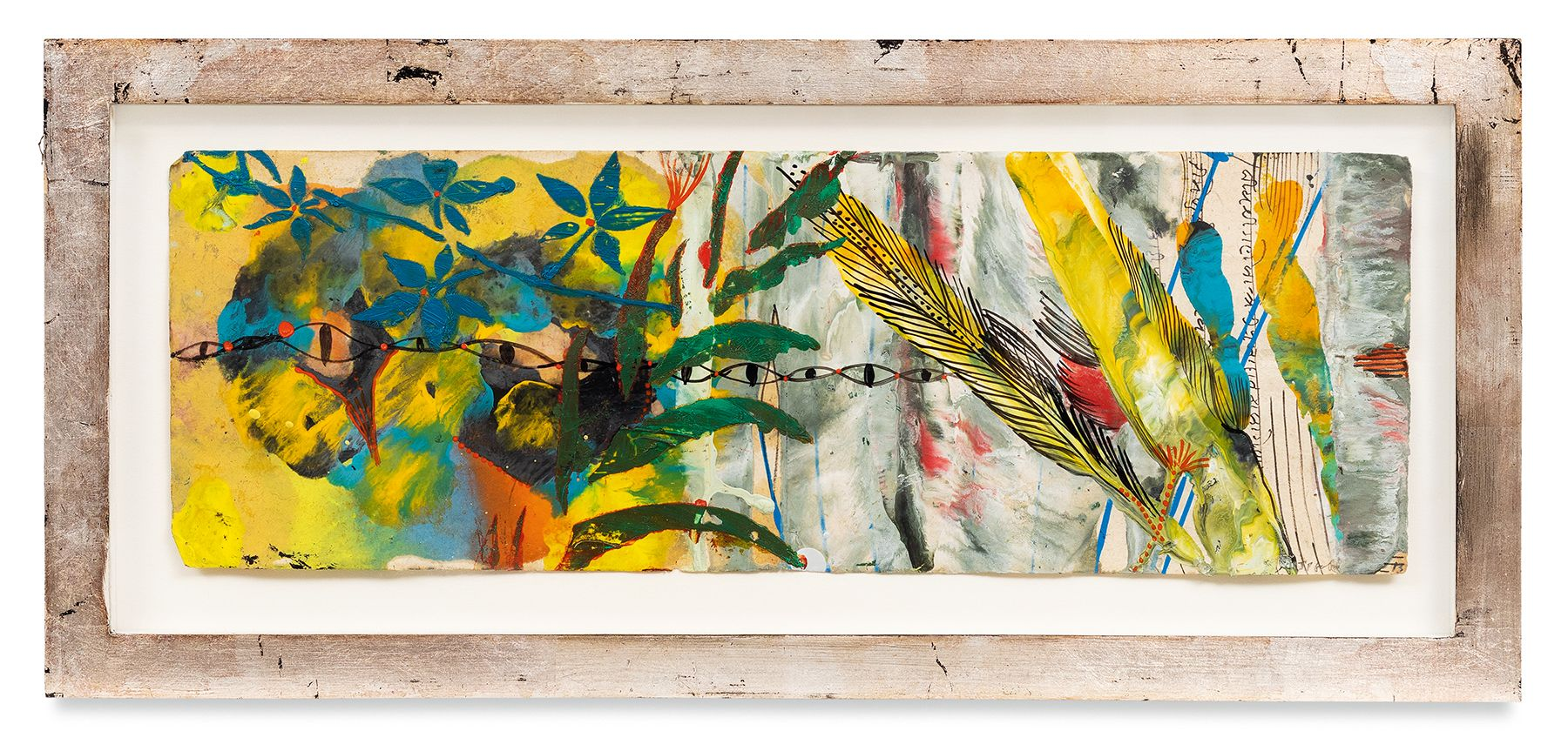 Raga 10, 2013, Oil stick, encaustic, vintage Indian paper, in artist's frame, 9 7/8 x 21 7/8 inches, 25.1 x 55.6 cm, MMG#30625