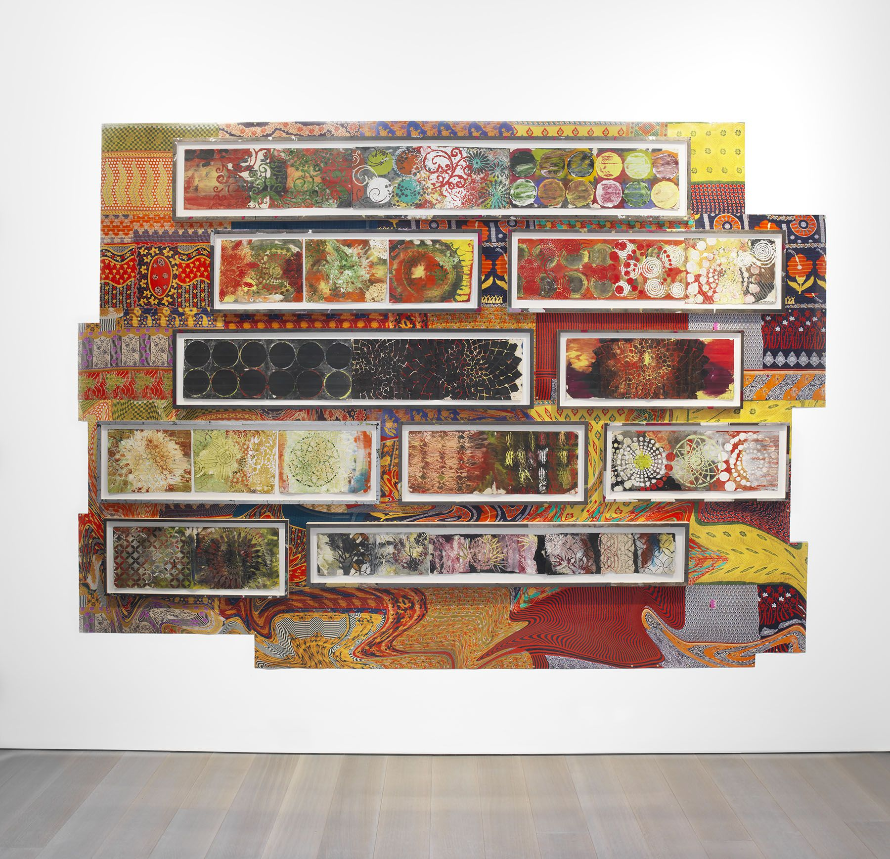 Judy Pfaff, Wall Install - Year of the Rat, 2018, Oil stick, encaustic, vintage indian paper, 80 x 112 inches, 203.2 x 284.48 cm, MMG#29815