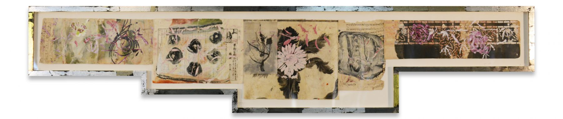 Untitled, 2018, Oil stick and encaustic on Chinese book papers and Indian ledger paper in artist's frame, 14 5/8 x 69 1/4 x 1 1/4 inches, 37.1 x 175.9 x 3.2 cm, MMG#30911