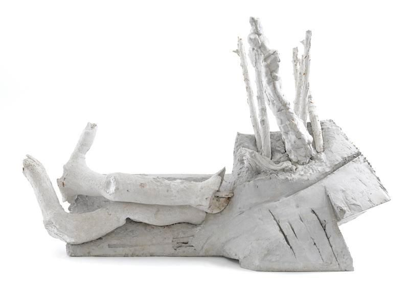 Couple at Rest, 2016, Welded steel frame with rebar, cast Hydro- Stone, and cast concrete, 23 x 35 x 15 inches, 58.4 x 88.9 x 38.1 cm, MMG#28247
