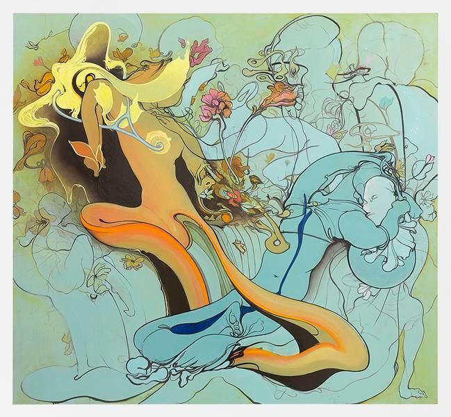 Inka Essenhigh, Earth and Sea, 2016, Enamel on panel