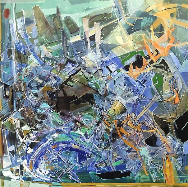 Wave, 2013, Acrylic, collage, and oil on linen, 80 x 80 inches, 203.2 x 203.2 cm, A/Y#21146