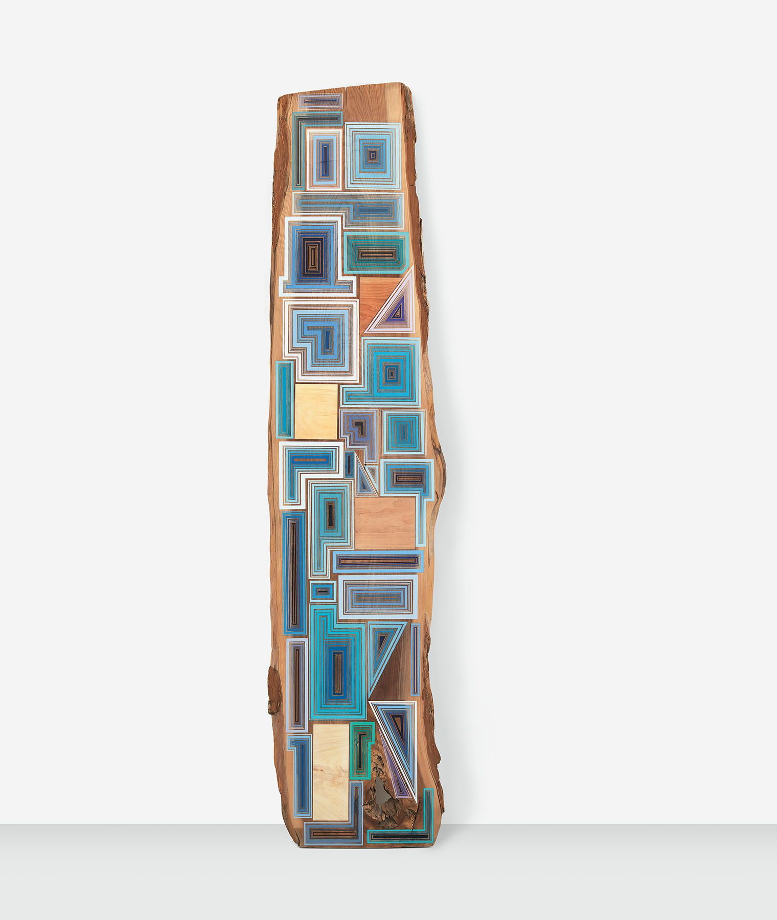 Forty Blues, 2018, Acrylic and wax on cherry, 102 x 25 x 1 inches, 259.1 x 63.5 x 2.5 cm, MMG#30718