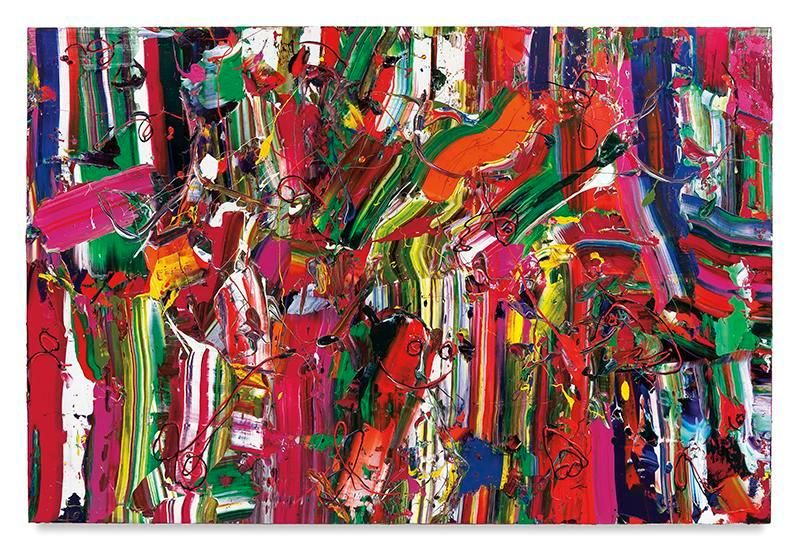 Paint Station, 2017, Acrylic on linen, 60 x 90 inches, 152.4 x 228.6 cm, MMG#29069