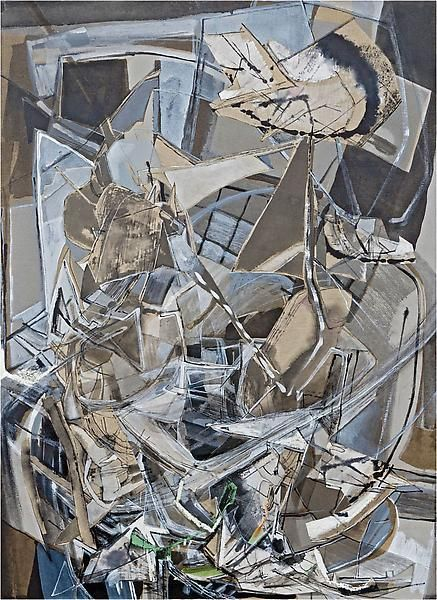 Dual Ablutions, 2013, Acrylic, collage, and oil on linen, 55 x 40 inches, 139.7 x 101.6 cm, A/Y#21142