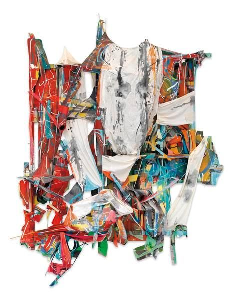 Talisman Debris, 2016, Acrylic and collage on canvas, wood and steel, 90 x 68 x 26 inches, 228.6 x 172.7 x 66 cm, MMG#28303