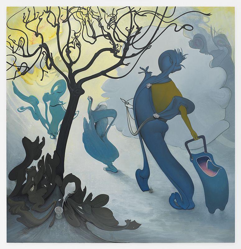 Inka Essenhigh,Treasure Hunt, 2017,Enamel on canvas,60 x 58 inches,152.4 x 147.3 cm, MMG#29630