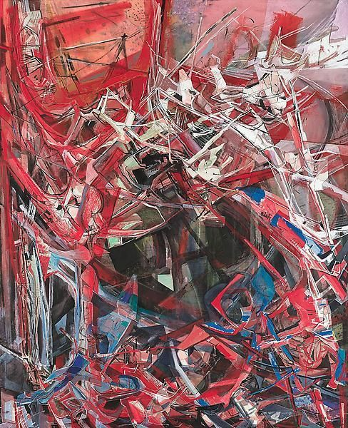 American Vortex, 2013, Acrylic, collage, and oil on canvas, 87 1/4 x 71 inches, 221.6 x 180.3 cm, A/Y#21204